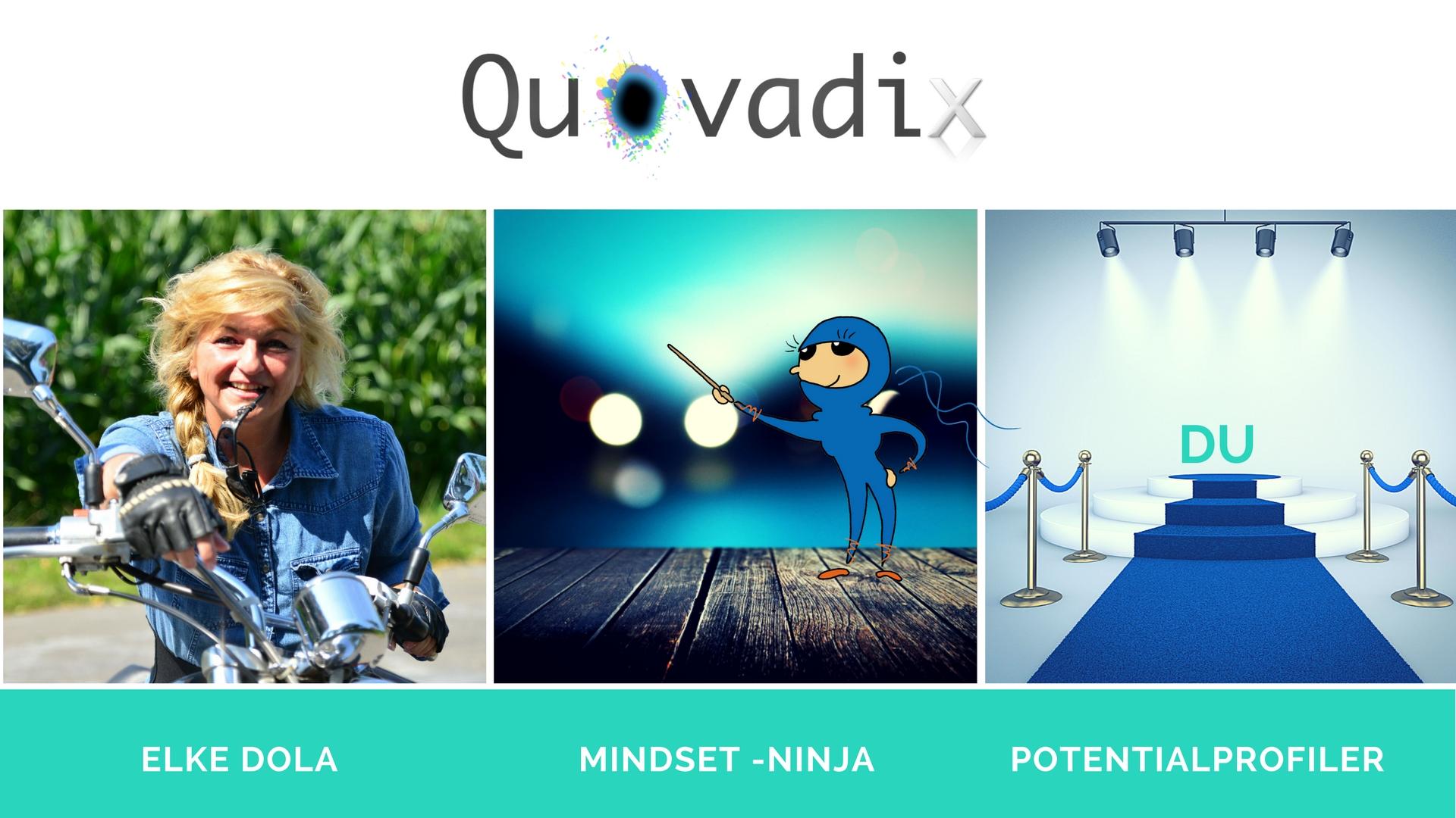 Das Bild zeigt mich, Elke Dola, auf meinem Motorrad und meinen blauen Mindset-Ninja
